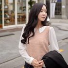 Korean Collar two tones blouse mixed knit and chiffon
