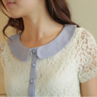 beautiful ivory delicate lace dress with baby blue peter pan collar