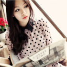 Dotted double layers romantic chiffon blouse