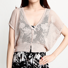 Knit cropped short cardigan with big dots pattern