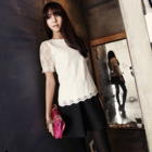 Feminine Short Sleeve lace blouse with lovely hem
