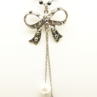 pearly ribbon dangling long necklace with vintage touch