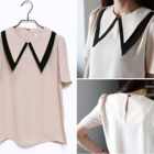 Double Peter Pan Collar Chiffon Blouse