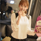 faux leather shoulder patch korean chiffon blouse