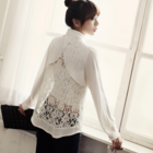 Back lace details chiffon blouse