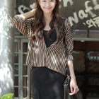 2 pieces set with flowy stripe pattern shirt and black sleeveless dress