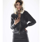 One piece dress with fur hood and zip with slim hem line