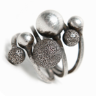 Rustic silver colour ball ring