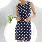 Navy white dot-pattern mini dress