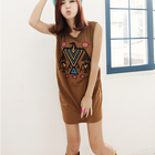 Sleeveless Tunic T with Eagle needlework