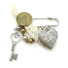 Vintage touch key and heart Korean Brooch