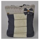 Cotton handmade zipped tote bag with lace and details
