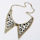 Chunky leopard print pointed collar choker statment necklace