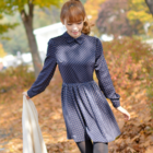Vintage flower long sleeves dress with peter pan collar Korean Collection