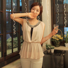 bling necklace chiffon blouse