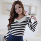Unique beautiful statement collar stripes pattern t shirt top