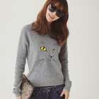 Cute Cat face embroidered wool sweater