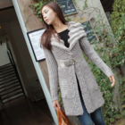 fur collar belted long cardigan