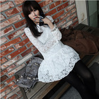 Full lace dress with collar and long sleeve