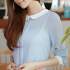 Sky blue chiffon blouse with peter pan collar back buttons